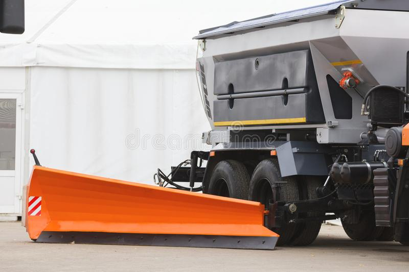 A dump truck for construction building outdoors. Telephoto shot stock images