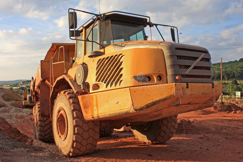 Dump Truck. On a construction site stock image