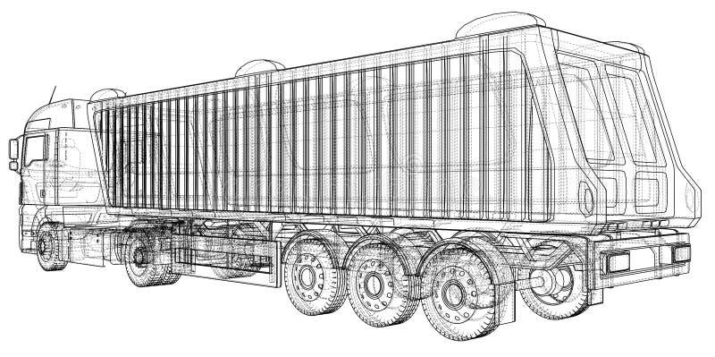 dump truck D'isolement Illustration créée de 3d Fil-cadre illustration stock