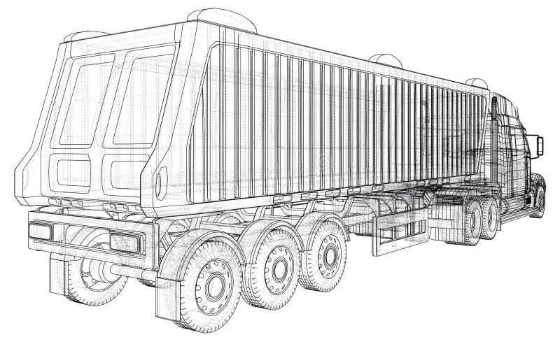 dump truck D'isolement Illustration créée de 3d Fil-cadre illustration de vecteur