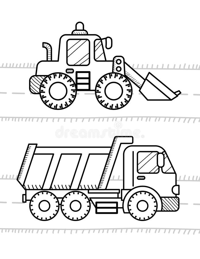 Dump Truck, Excavator. Cars and vehicles coloring book for kids. Dump Truck, Excavator Dozer Digger Tractor stock illustration