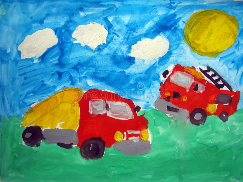 Dump truck and fire truck - painted by child stock images
