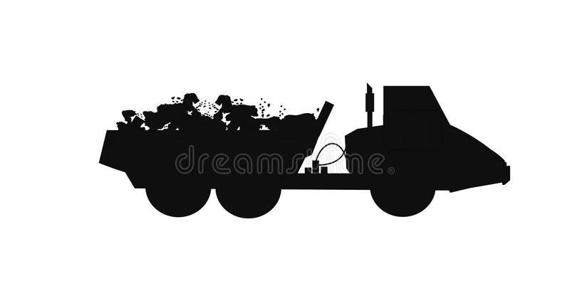 Dump truck with full load of rocks. Articulated dump truck with full load in silhouette vector illustration