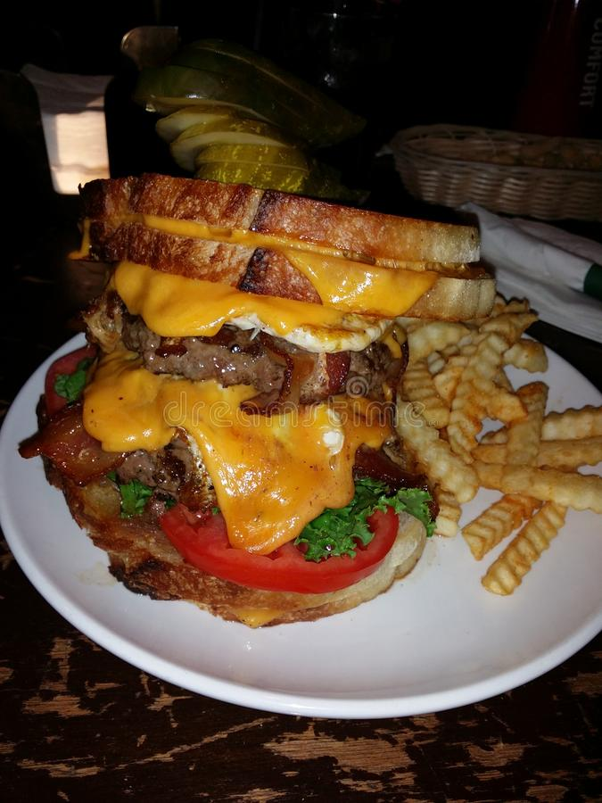 The Dump Truck. Hamburger from O'Tooles. The largest burger I have ever eaten royalty free stock photography