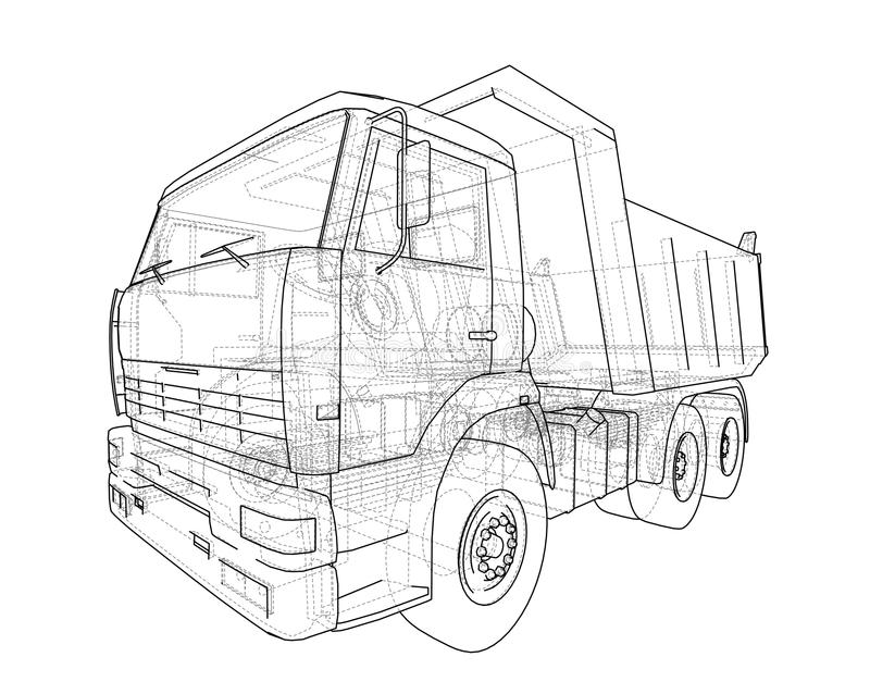 dump truck illustration 3D illustration stock