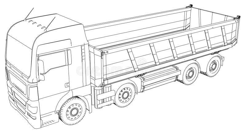 dump truck Illustration de découverte de 3d Format de vecteur d'ENV 10 d'isolement sur le blanc illustration de vecteur