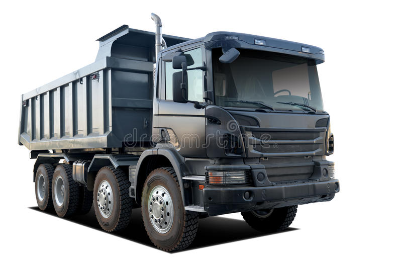 huge dump truck with isolated white background stock photos