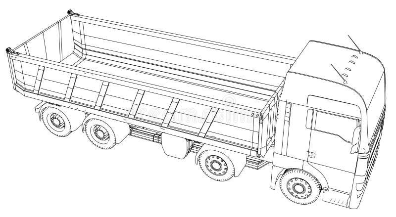 dump truck Le vecteur a créé l'illustration de 3d style de Fil-cadre Les couches de lignes évidentes et invisibles sont séparées illustration libre de droits