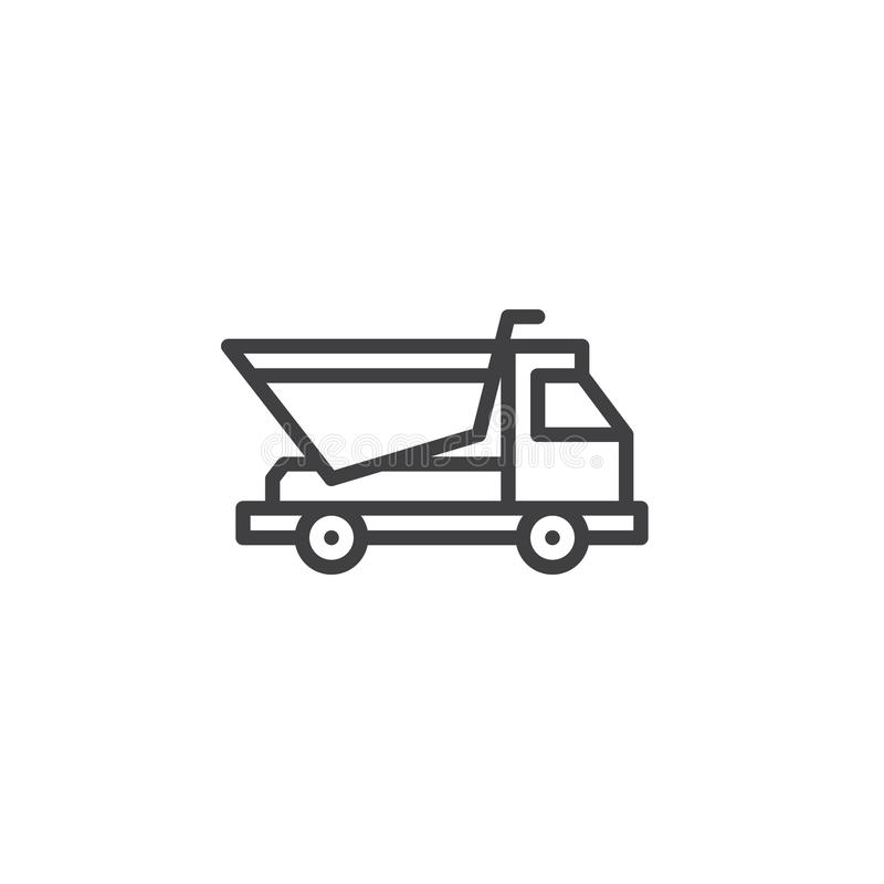 Dump truck line icon royalty free illustration