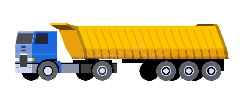 Dump truck semi trailer. Minimalistic icon semi-trailer tractor dump truck front side view. Dumper COE cab over engine vehicle. Vector isolated illustration stock illustration