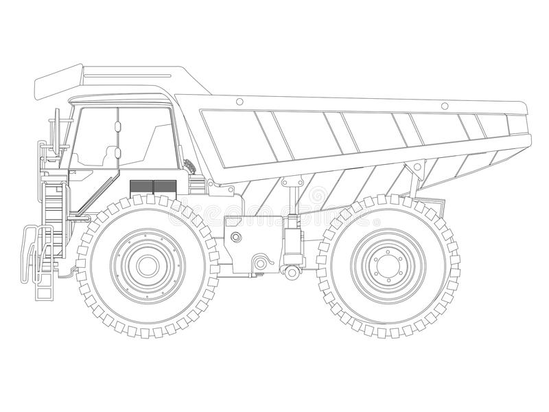 Line Drawing Truck : Dump truck sketch stock vector illustration of