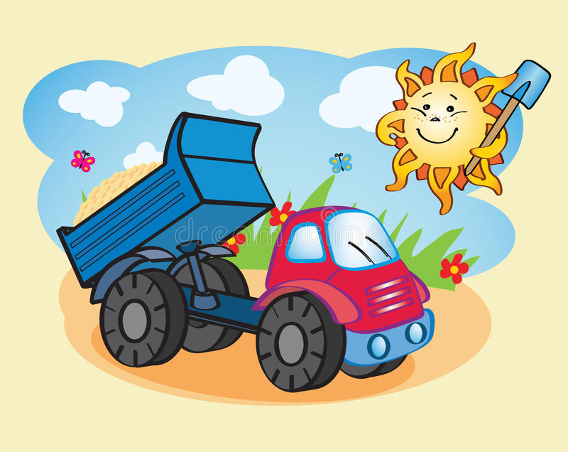 Download Dump-truck And The Sun Working Together Stock Vector - Illustration of transportation, tipper: 32951715