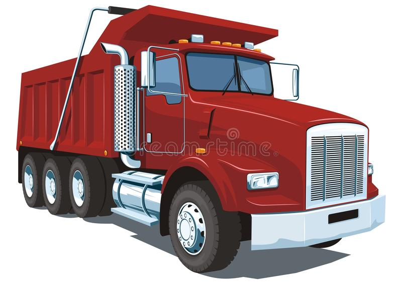 Dump truck. Vector red dump truck on white background without gradients and transparency vector illustration