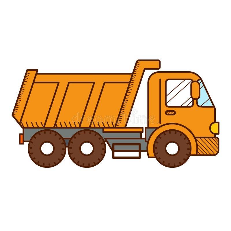 Dump Truck on white background. Vector royalty free illustration