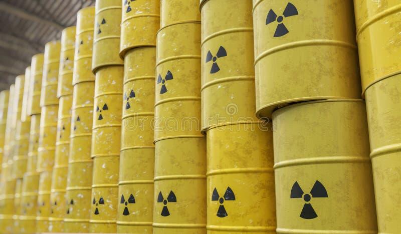 Dumpa av trummor för radioaktiv avfalls framförd illustration 3d royaltyfri illustrationer