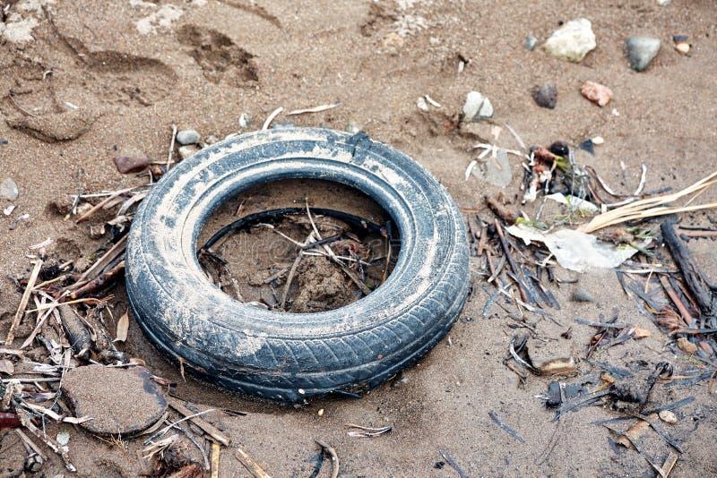 Dumpat slitet vått bilgummihjul på lerig jordyttersida royaltyfria foton