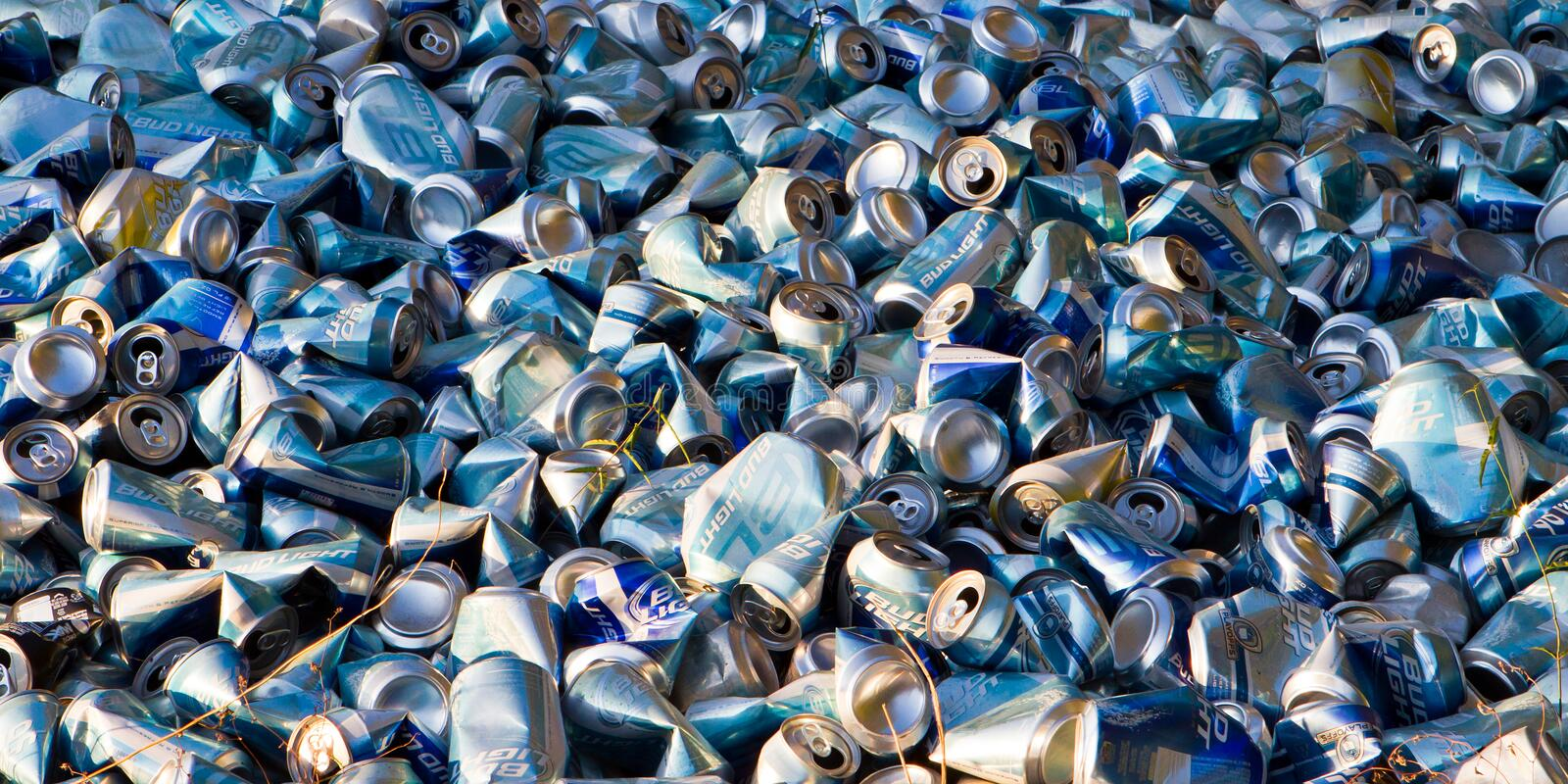 Dumped beer cans banner royalty free stock images