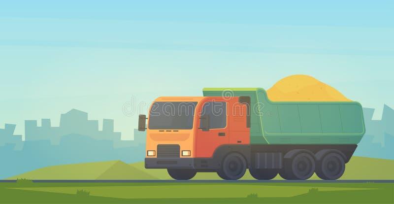 Dumper truck. Transportation soil and construction materials on building site. Vector illustration in cityscape vector illustration
