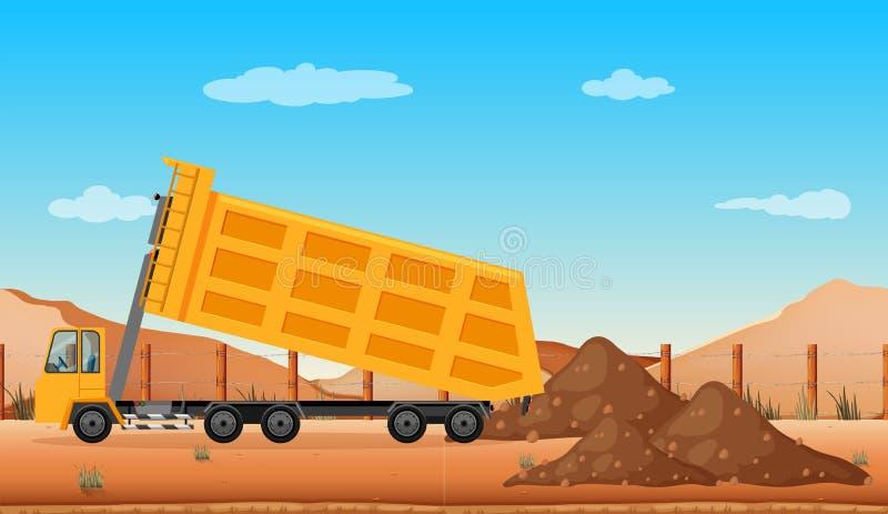 Dumping truck at the construction site. Illustration vector illustration