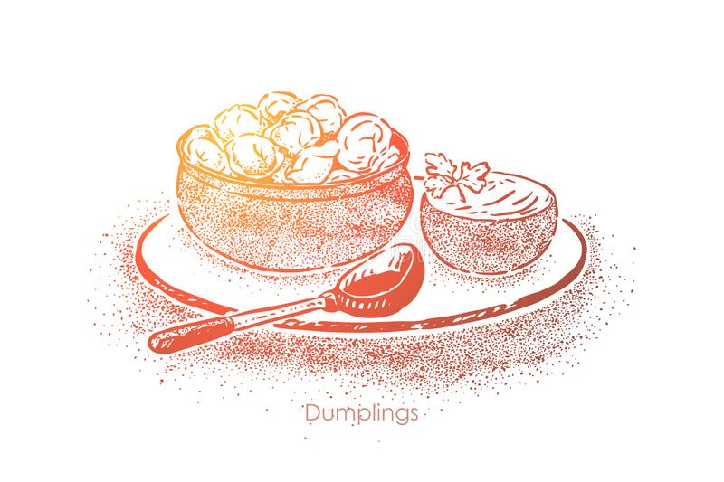 Dumplings bowl with sour cream, dough with meat filling, national cuisine, homemade lunch, breakfast vector illustration