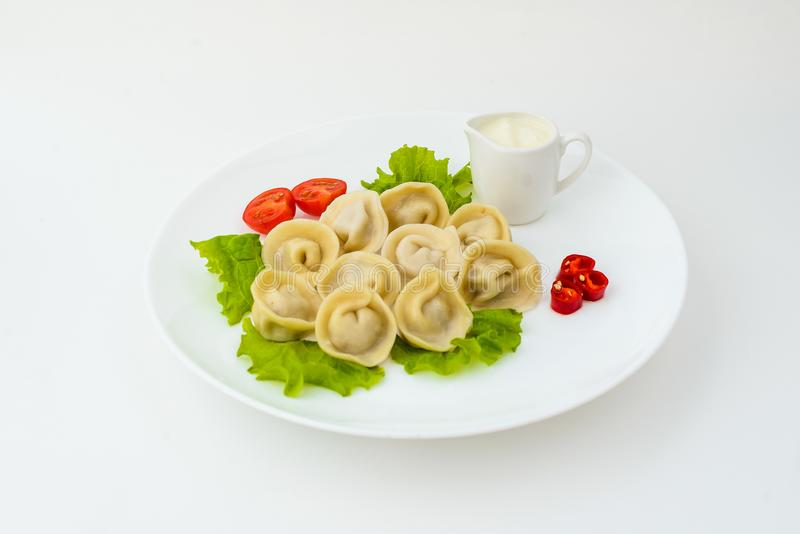 Dumplings in plate isolated on white royalty free stock photos