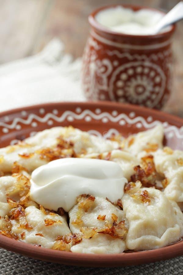 Dumplings with potato stock images