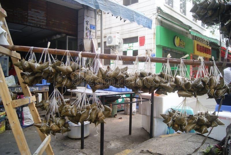 Dumplings processing workshop, in China stock images