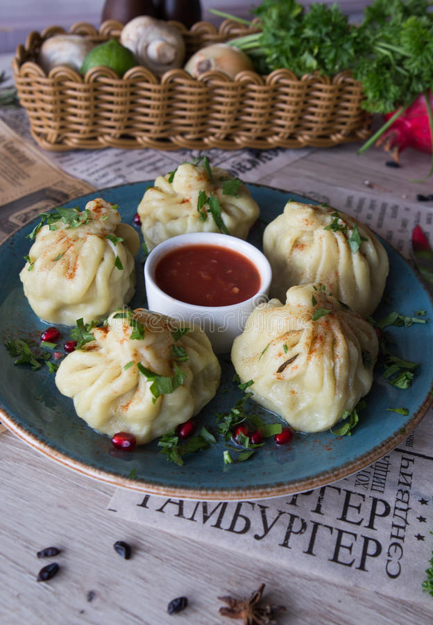 Dumplings with sauce stock photography