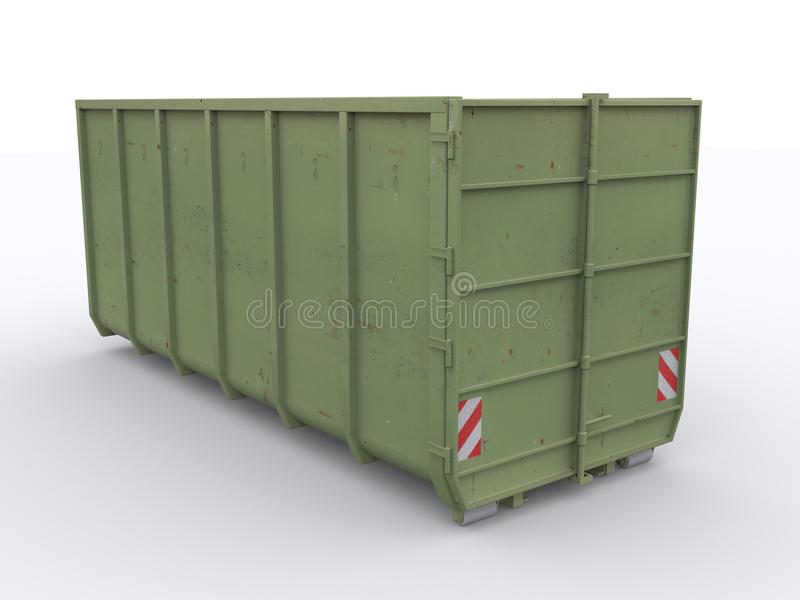 Dumpster container. On white background royalty free stock photos