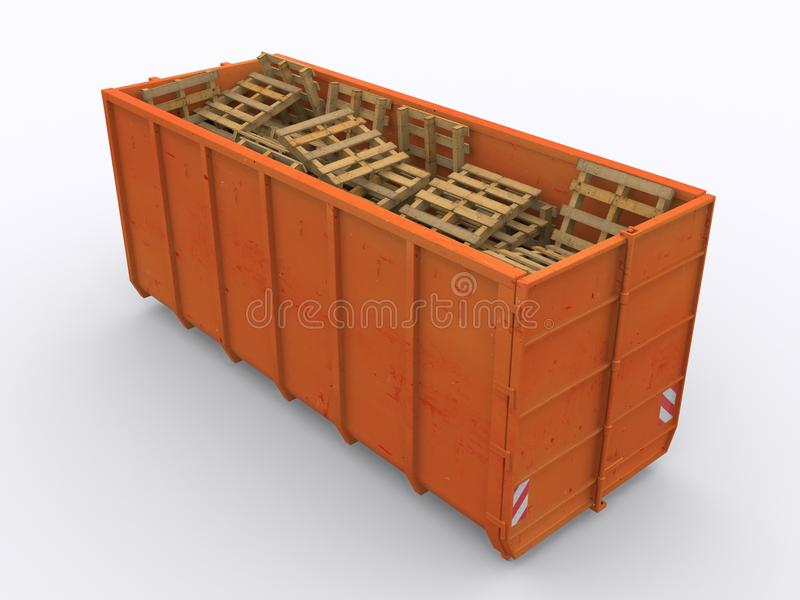 Dumpster container. On white background stock photo