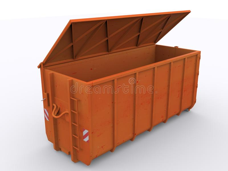 Dumpster container. On white background royalty free stock image