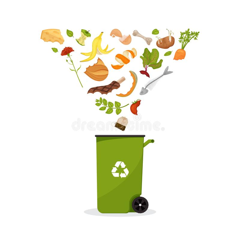 Dumpster with products flying into it. Cartoon food garbage. Illustration for food processing and compost, organic waste, zero vector illustration