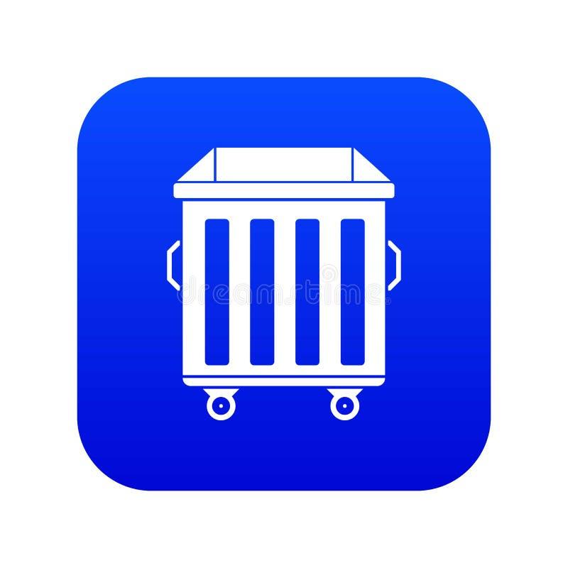 Dumpster on wheels icon digital blue stock illustration