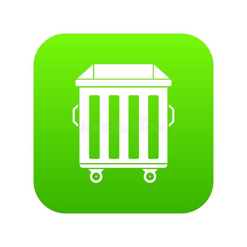 Dumpster on wheels icon digital green stock illustration