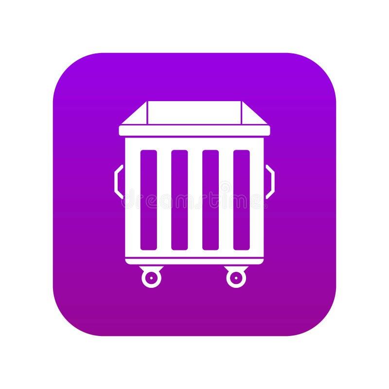 Dumpster on wheels icon digital purple vector illustration