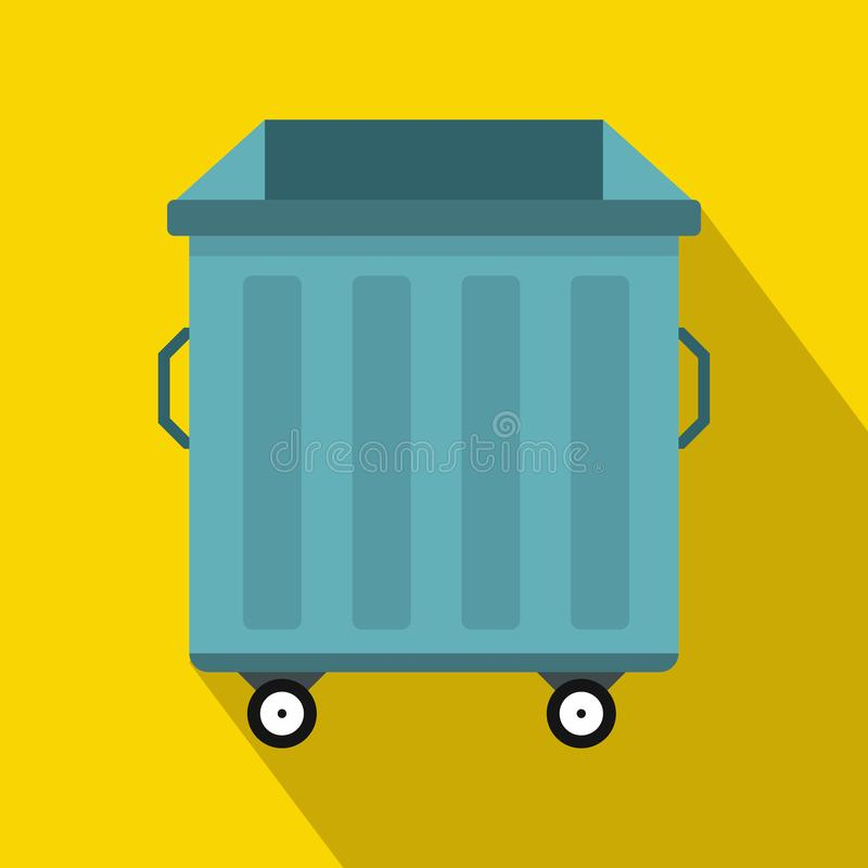 Dumpster on wheels icon, flat style royalty free illustration