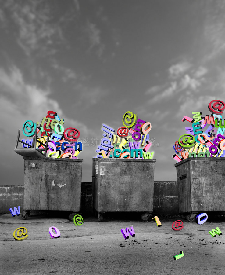 Dumpsters with technological symbols royalty free stock photography