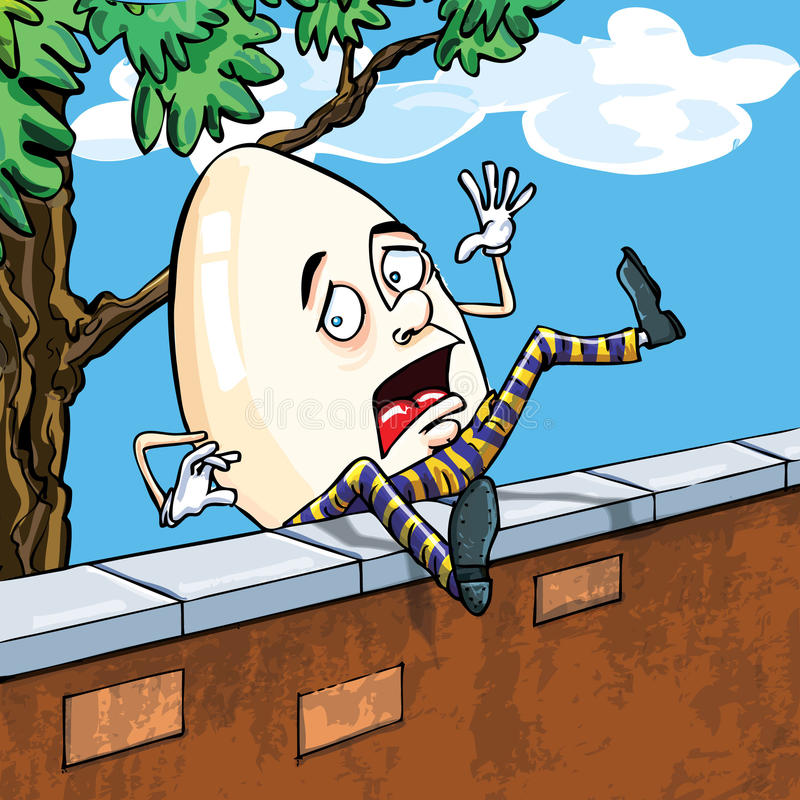 Dumpty落的humpty墙壁 库存照片