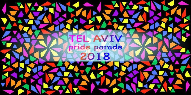 Dumy parada, Tel Aviv 2018 Tęcza Barwi teksturę Wektorowy ilustracyjny wielo- kolor mozaiki tło royalty ilustracja