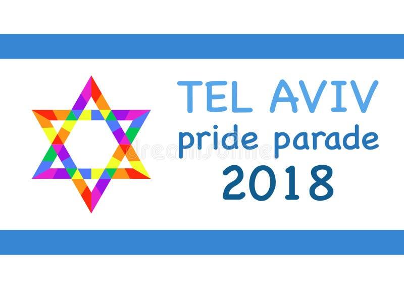 Dumy parada, Tel Aviv 2018 Tęcza Barwi teksturę Wektorowy ilustracyjny wielo- kolor odosobniony lub biały tło royalty ilustracja