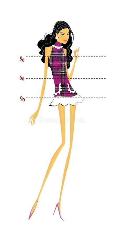 Dun brunette met lange benen in een plaidkleding met een ideaal cijfer en een gewicht Meting van ideale aandelen Taille, borst, h stock illustratie