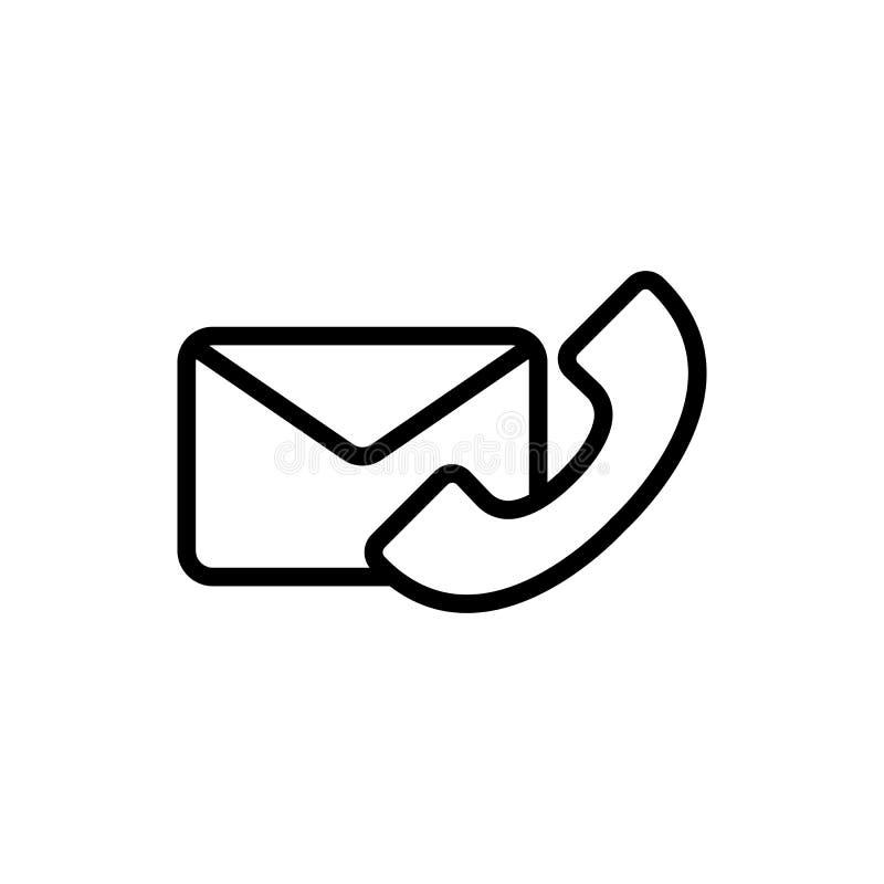 Dun de enveloppictogram van de lijntelefoon stock illustratie