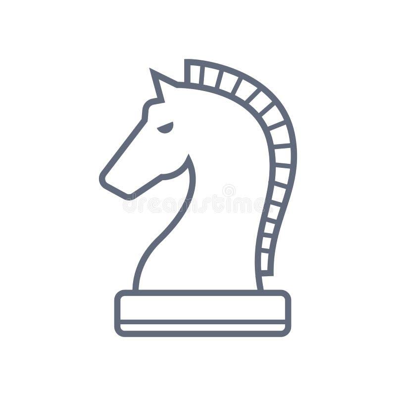 Dun de Lijn Vectorpictogram van het paardschaak Vlak die pictogram op de witte achtergrond wordt ge?soleerd Editableeps dossier V royalty-vrije illustratie