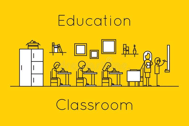 Dun de lijnconcept van het klaslokaalonderwijs vector illustratie