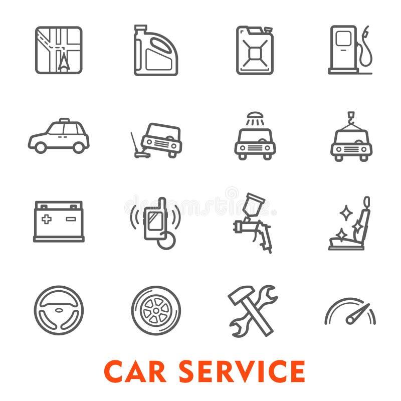 Dun de lijnpictogram van de autodienst voor autoreparatiepost vector illustratie
