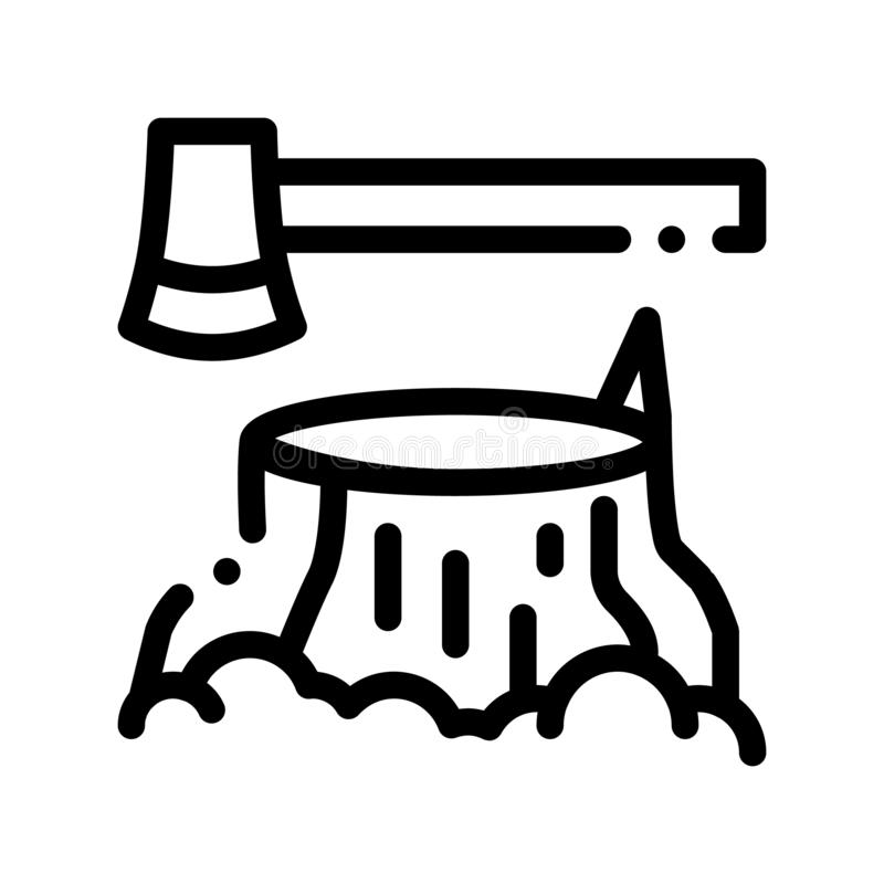 Dun de Lijnpictogram van boomstub and ax hatchet vector royalty-vrije illustratie