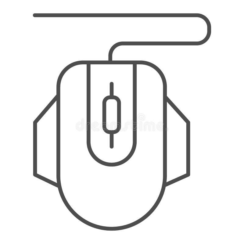 Dun de lijnpictogram van de computermuis Klik vectordieillustratie op wit wordt geïsoleerd De stijlontwerp van het apparatenoverz vector illustratie