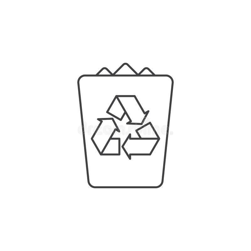 Dun de lijnpictogram van de afvalbak, vector het embleemillustrati van het huisvuiloverzicht vector illustratie