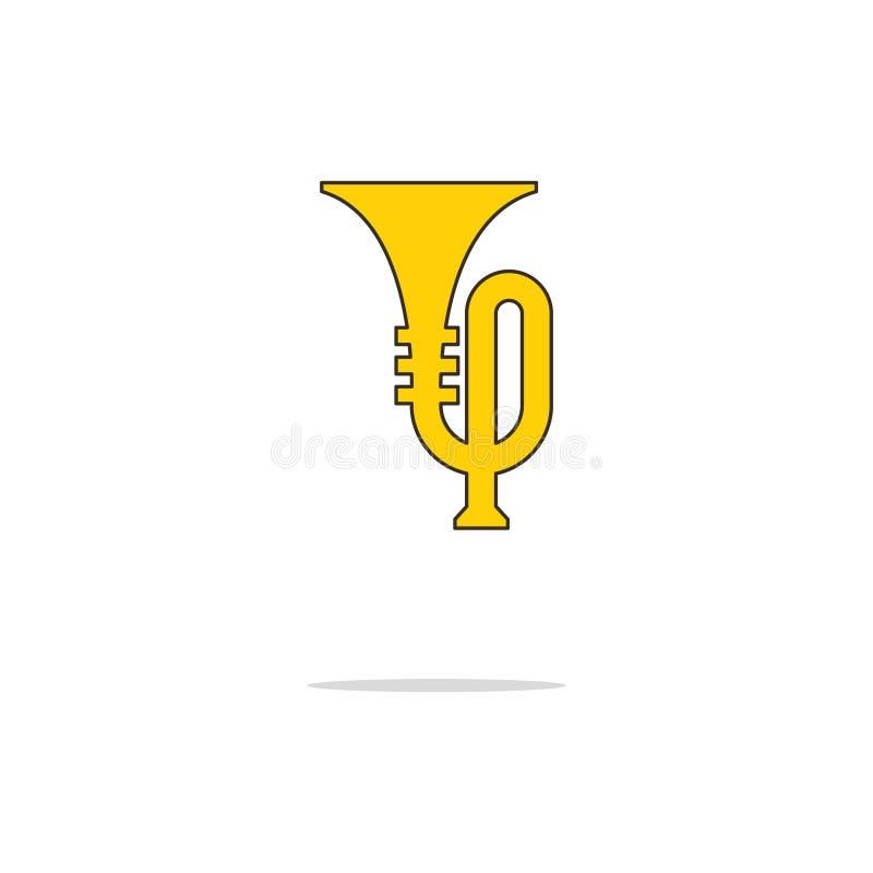 Dun de lijnpictogram van de trompetkleur Vector illustratie stock illustratie