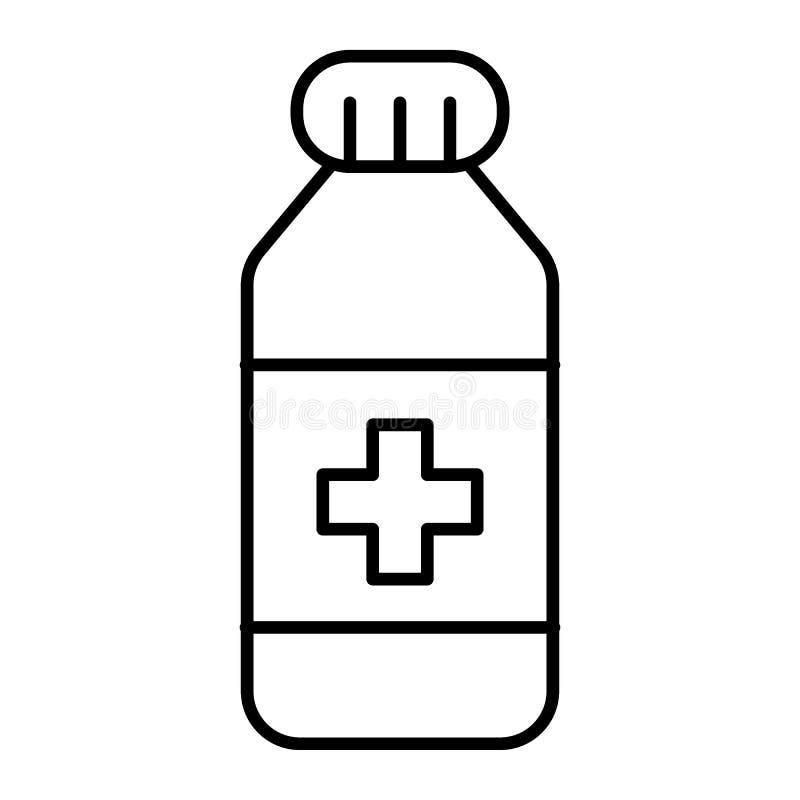 Dun de lijnpictogram van de geneeskundefles Geneesmiddel vectordieillustratie op wit wordt geïsoleerd De stijlontwerp van het vit vector illustratie